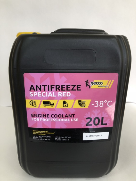 Другое Gecco lube Antifreeze SPECIAL RED Тосол 20л - фото